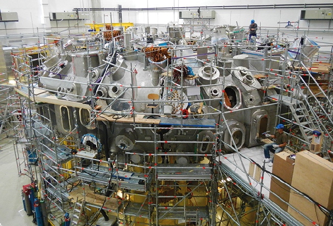 Wendelstein 7-X in March 2014, shortly before completion of the main installation phase