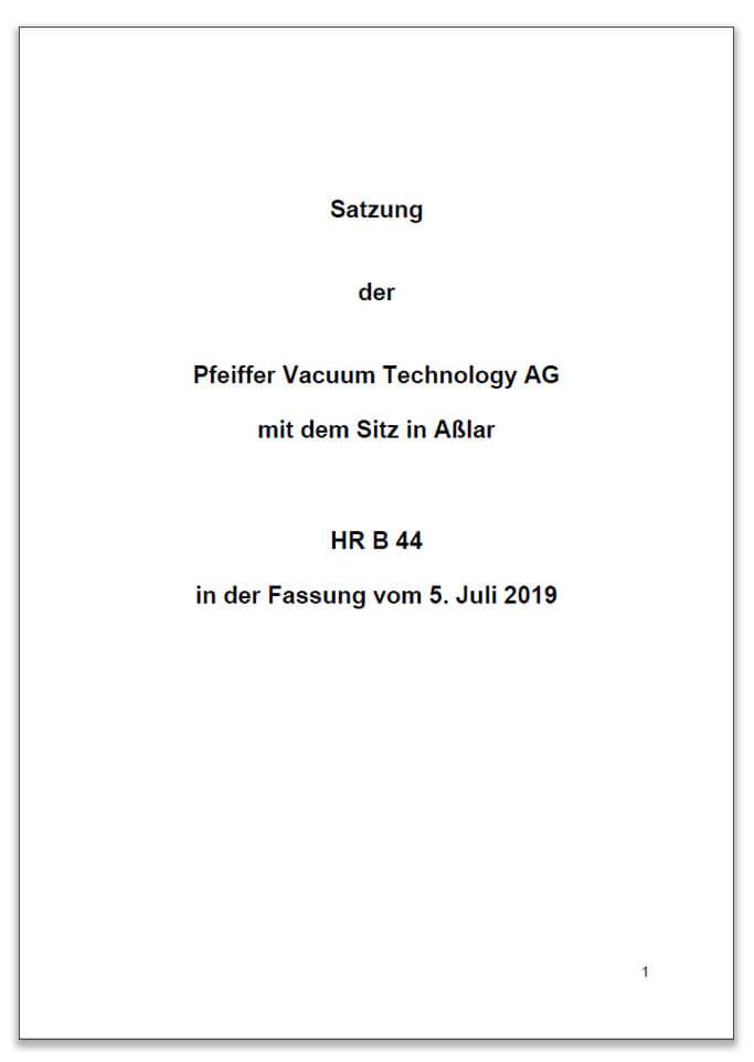 Satzung der Pfeiffer Vacuum Technology AG