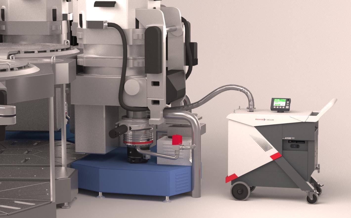 Pfeiffer Vacuum Lecksucher ASM 390 bei der Arbeit in einer Halbleiterfabrik