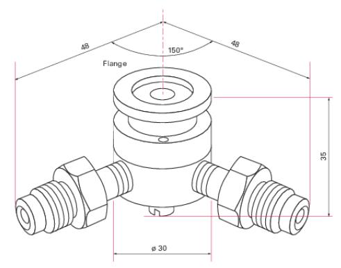 Eindringmembran für Kalibrierung in Gasleitungen, DN16, VCR 1/4 Zoll