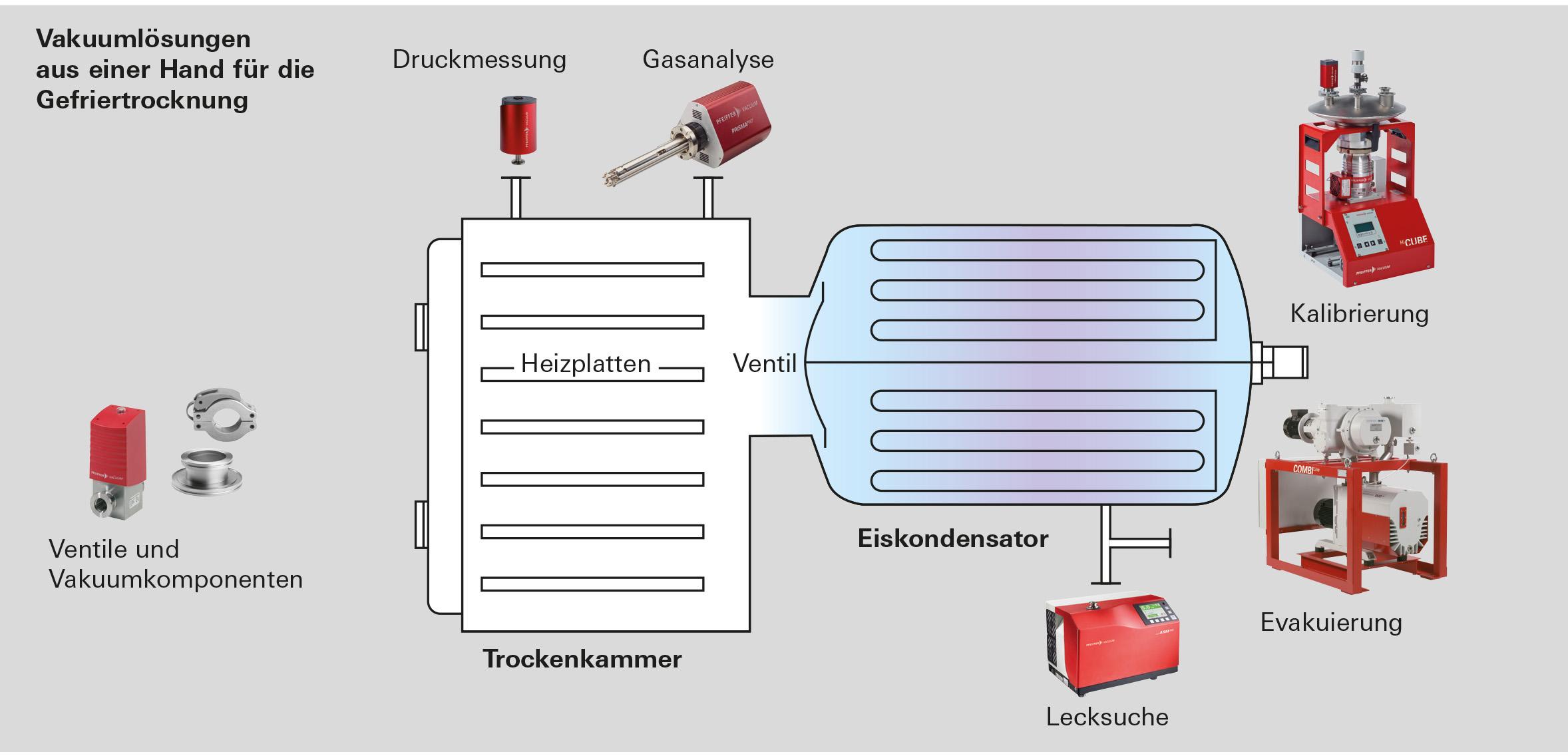 Darstellung Vakuumlösung aus einer Hand für die Gefriertrocknung