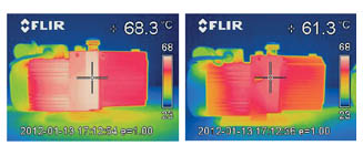 Thermal image of the Duo 1.6 in comparison to the previous version Duo 1.3