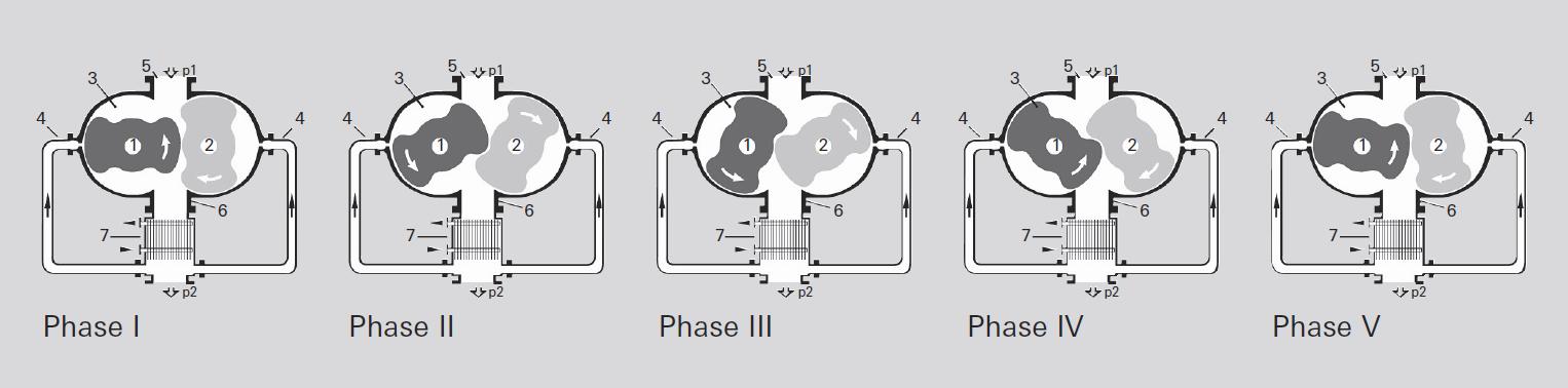 Funktionsprinzip der gasgekühlten Wälzkolbenvakuumpumpe