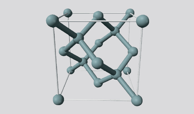 Diamondlike crystal structure of Silicon