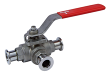 Ball valve, 3-way, manual